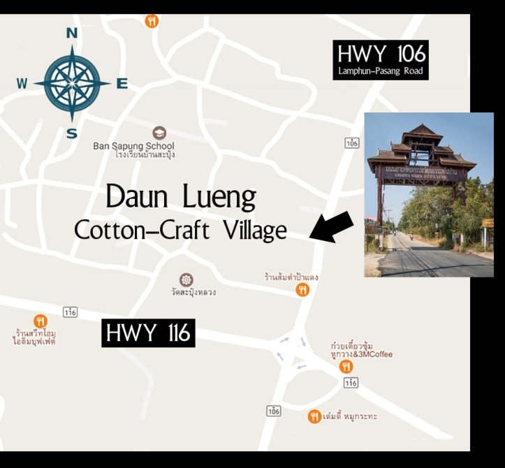 Map of Ban Daun Lueng near Pasang, Thailand